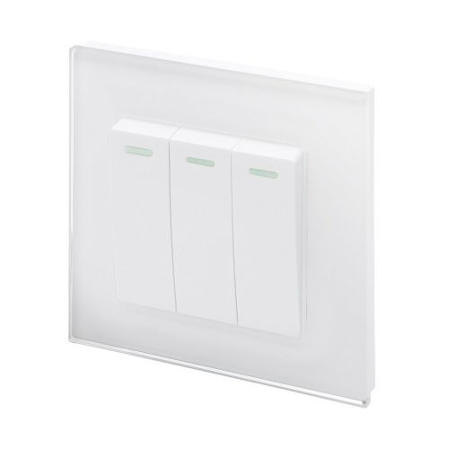 RetroTouch 3 Gang 1 or 2 Way 10A Rocker Light Switch White Glass PG 00233